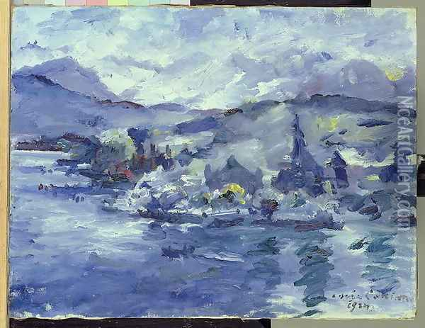 Afternoon on Lake Lucerne, 1924 Oil Painting - Lovis (Franz Heinrich Louis) Corinth