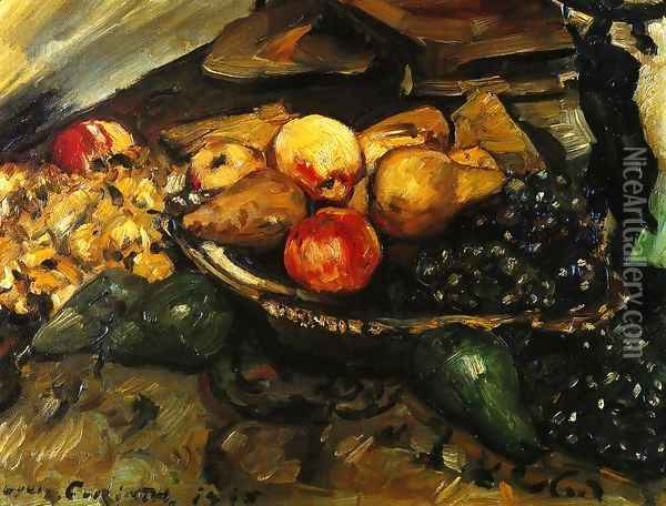 Still Life with Fruit and Wine Glass Oil Painting - Lovis (Franz Heinrich Louis) Corinth