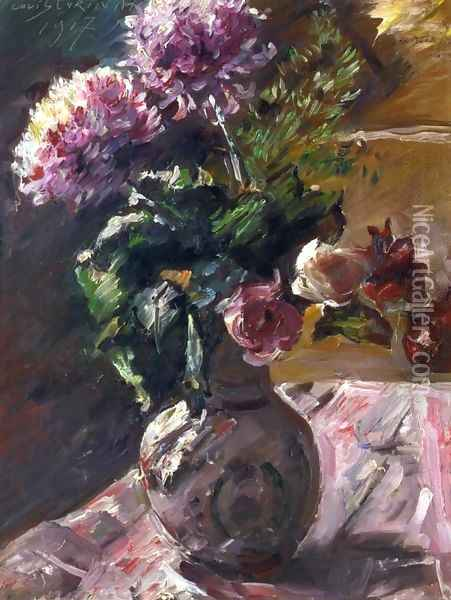 Chrysanthemums and Roses in a Jug Oil Painting - Lovis (Franz Heinrich Louis) Corinth