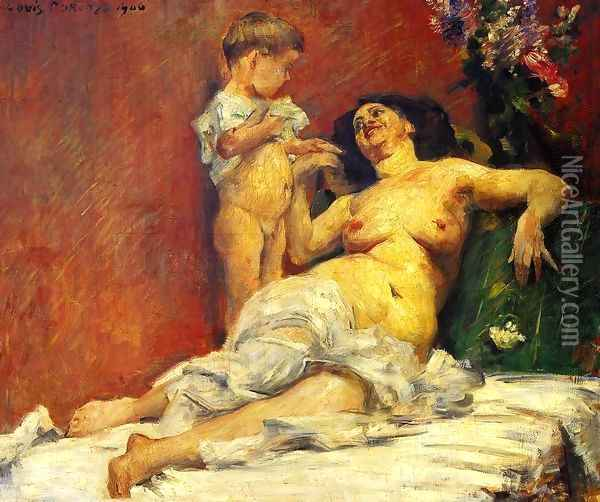 Mother and Child Oil Painting - Lovis (Franz Heinrich Louis) Corinth