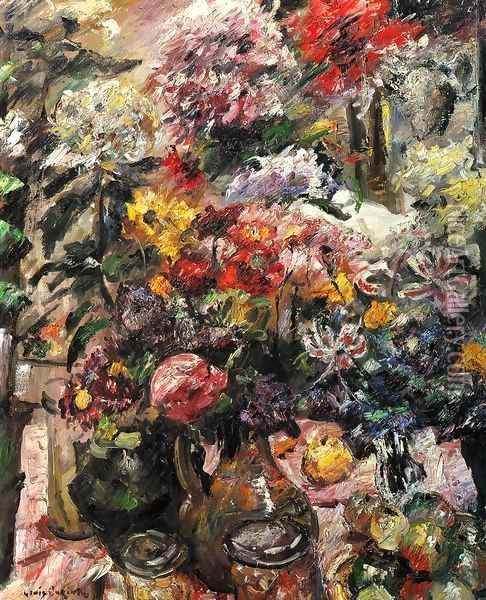 Still Life with Chrysanthemums and Amaryllis Oil Painting - Lovis (Franz Heinrich Louis) Corinth