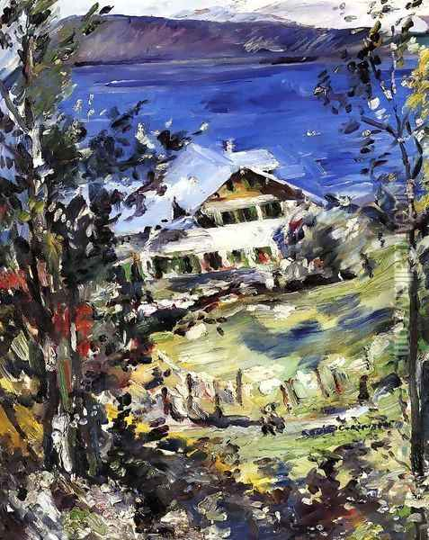 The Walchensee, Country House with Washing on the Line Oil Painting - Lovis (Franz Heinrich Louis) Corinth