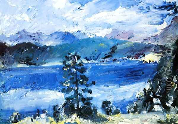 The Walchensee with a Larch Tree Oil Painting - Lovis (Franz Heinrich Louis) Corinth