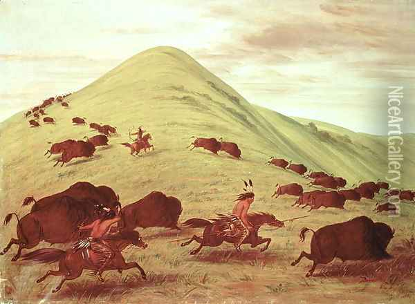Sioux Indians hunting buffalo, 1835 Oil Painting - George Catlin