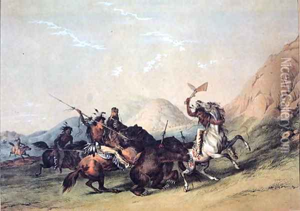 Native Americans killing a bear Oil Painting - George Catlin