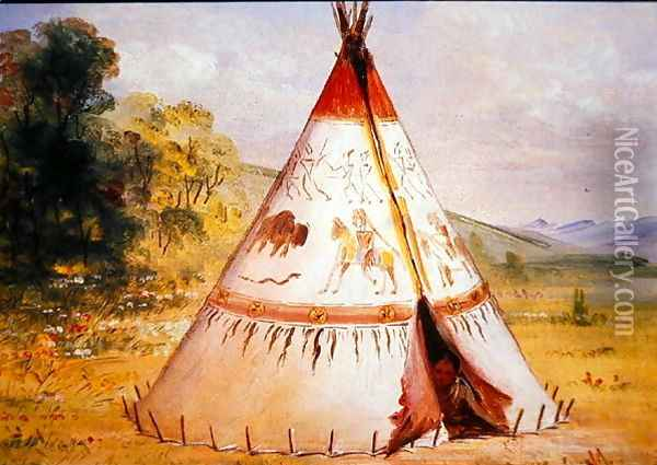Teepee of the Crow Tribe, c.1850 Oil Painting - George Catlin