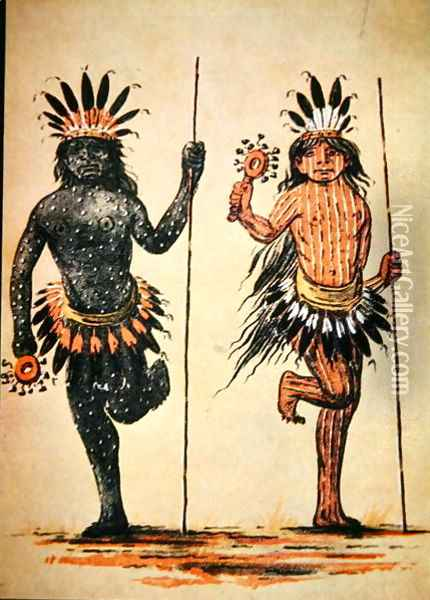 A Mandan tribal dance representing 'Day' and 'Night', from a painting of c.1835 Oil Painting - George Catlin