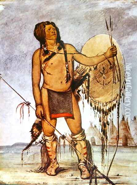 Comanche warrior with a shield, lance and bow and arrows, c.1835 Oil Painting - George Catlin