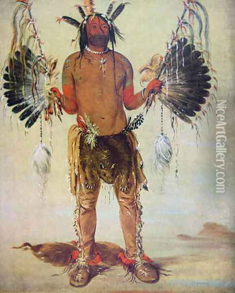 'Old Bear' medicine man of the Mandan Tribe, from a painting of 1832 Oil Painting - George Catlin