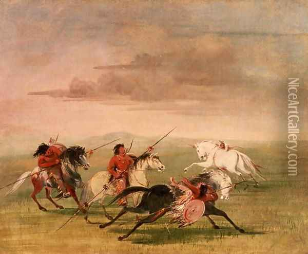 Red Indian Horsemanship Oil Painting - George Catlin