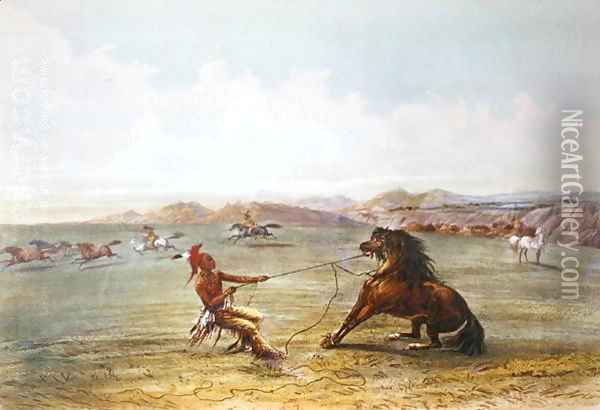 Osage hunters catching wild horses Oil Painting - George Catlin