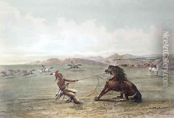 Catching Wild Horses on the Plains Oil Painting - George Catlin