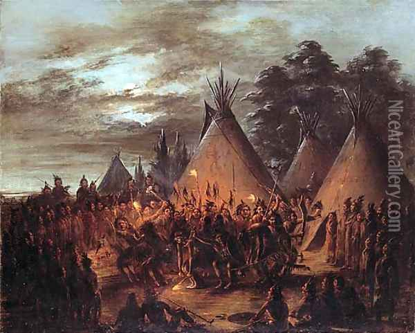 Scalp Dance, Sioux Oil Painting - George Catlin