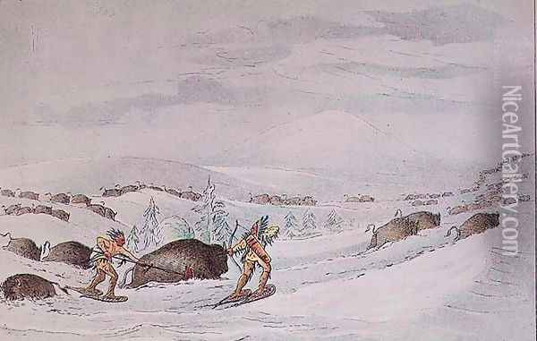 Hunting buffalo on snow-shoes Oil Painting - George Catlin