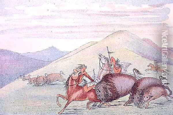 Buffalo bull protecting calf and mother under attack Oil Painting - George Catlin