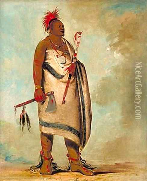 Shonka Sabe (Black Dog). Chief of the Hunkah division of the Osage tribe Oil Painting - George Catlin