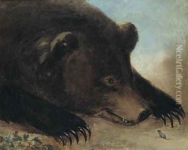 Portraits of Grizzly Bear and Mouse Oil Painting - George Catlin
