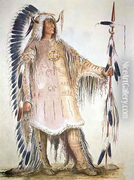 Mato-Tope, second chief of the Mandan people in 1833 Oil Painting - George Catlin