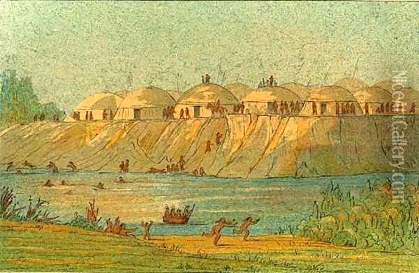 A village of the Hidatsa tribe at Knife River Oil Painting - George Catlin