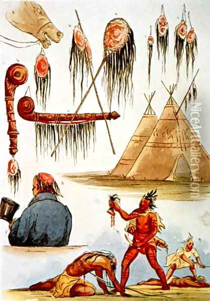 Scalping and decorative use of scalps Oil Painting - George Catlin