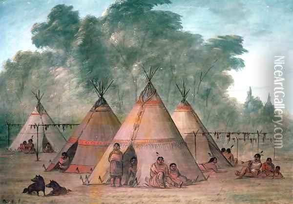 Sioux Village Oil Painting - George Catlin