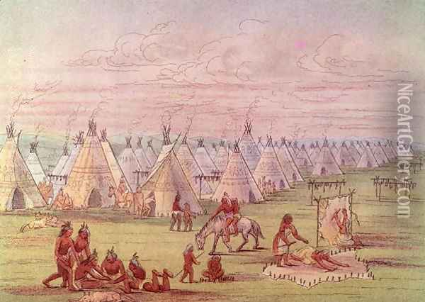 Comanchee Village Oil Painting - George Catlin