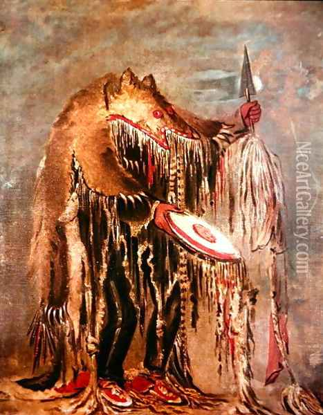 The White Buffalo, c.1840 Oil Painting - George Catlin