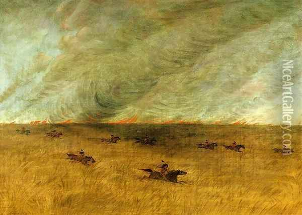 Fire in a Missouri Meadow and a Party of Sioux Indians Escaping from It, Upper Missouri Oil Painting - George Catlin