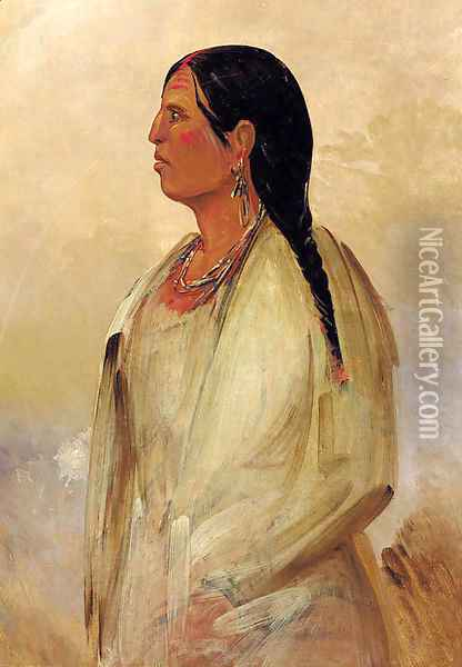 A Choctaw Woman Oil Painting - George Catlin