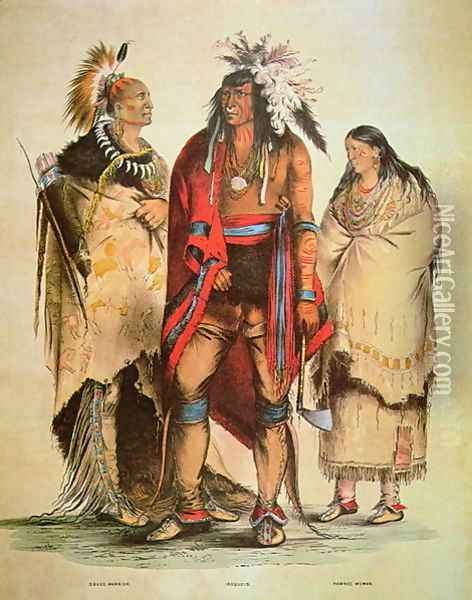 North American Indians, c.1832 Oil Painting - George Catlin