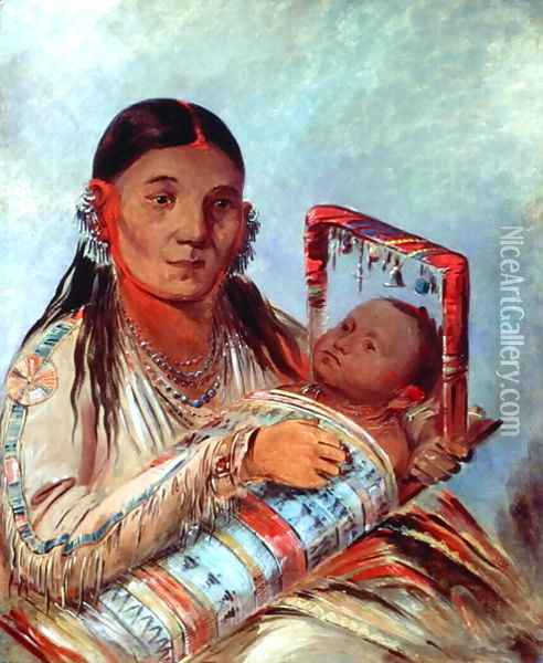 Sioux mother and baby, c.1830 Oil Painting - George Catlin
