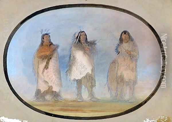 Little Bear, Steep Wind, The Dog; Three Distinguished Warriors of the Sioux Tribe Oil Painting - George Catlin