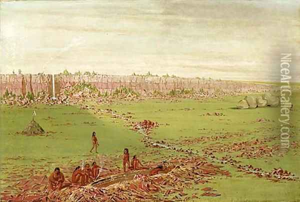 Pipestone Quarry on the Coteau des Prairies Oil Painting - George Catlin