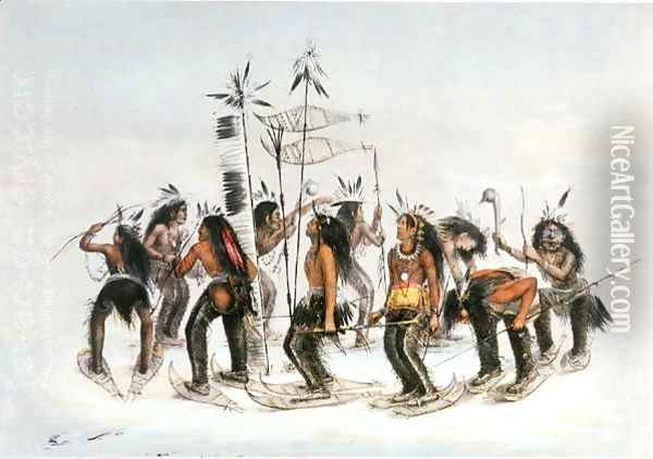 The Snow-Shoe Dance: To Thank the Great Spirit for the First Appearance of Snow Oil Painting - George Catlin
