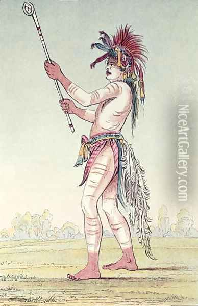 Sioux ball player We-Chush-Ta-Doo-Ta, 'The Red Man' Oil Painting - George Catlin