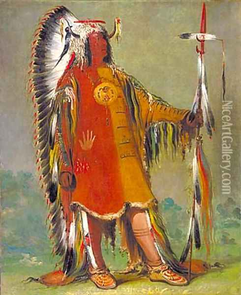 Máh-to-tóh-pa, Four Bears, Second Chief, in Full Dress Oil Painting - George Catlin