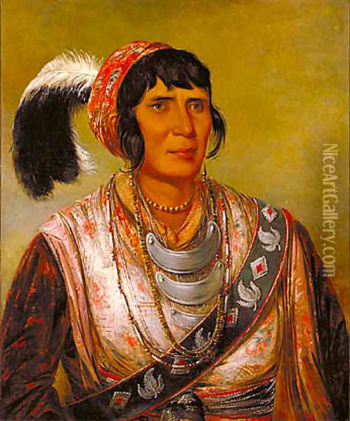 Os-ce-o-lá, the Black Drink, a Warrior of Great Distinction Oil Painting - George Catlin