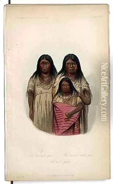 Ne-bet-neuh-qua and two other children... Oil Painting - George Catlin