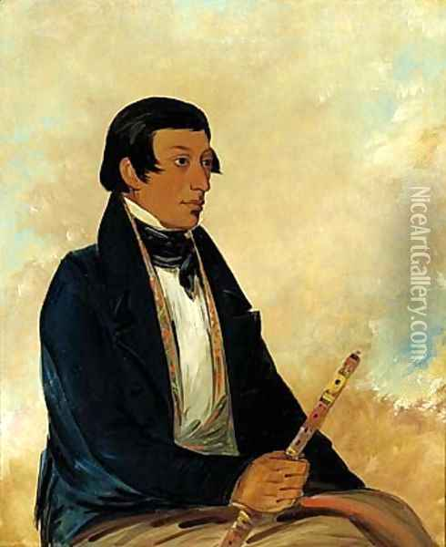 Kee-món-saw, Little Chief, a Chief Oil Painting - George Catlin