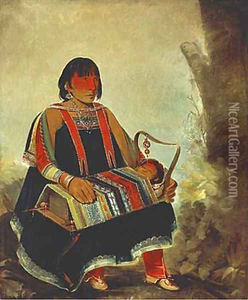 Jú-ah-kís-gaw, Woman with Her Child in a Cradle Oil Painting - George Catlin