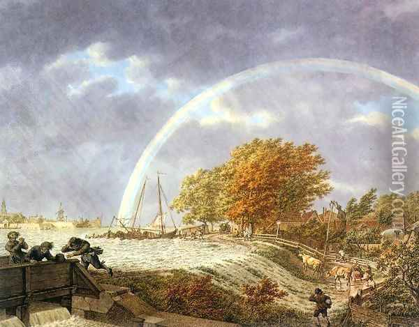 Autumn Landscape with Rainbow 1779 Oil Painting - Jacob Cats