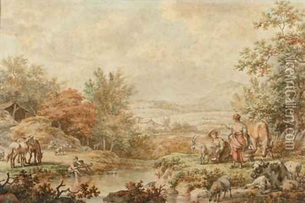 A mountainous landscape with maids milking a goat on the bank of a stream Oil Painting - Jacob Cats