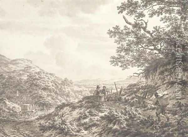 An extensive hilly landscape with figures carrying baskets Oil Painting - Jacob Cats