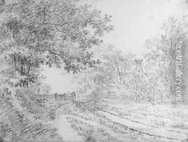 A wooded road with a fence by a house Oil Painting - Jacob Cats