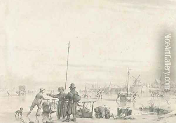 Figures skating and transporting produce on a frozen river, a walled town beyond Oil Painting - Jacob Cats
