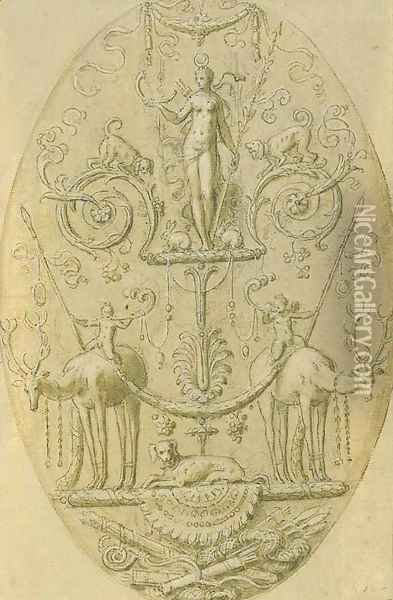 Design for a decorative panel with a Triumph of Diana Oil Painting - Antoine Caron