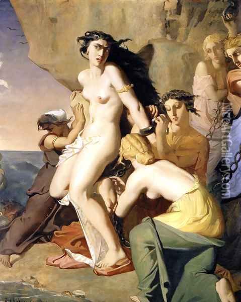 Andromeda Tied to the Rock by the Nereids, 1840 Oil Painting - Theodore Chasseriau
