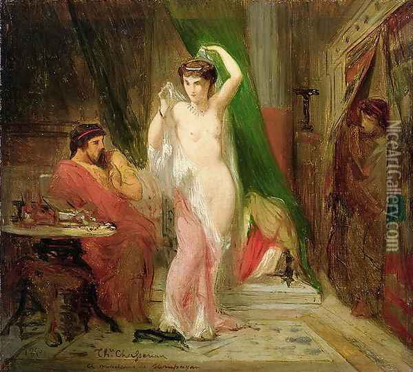 Candaule, King of Lydia, Showing the Beauty of his Queen to his Confidant Gyges, 1850 Oil Painting - Theodore Chasseriau
