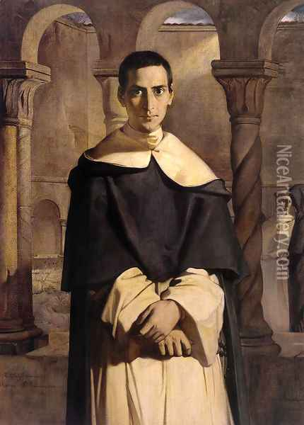 Portrait Of The Reverend Father Dominique Lacordaire Of The Order Of The Predicant Friars Oil Painting - Theodore Chasseriau