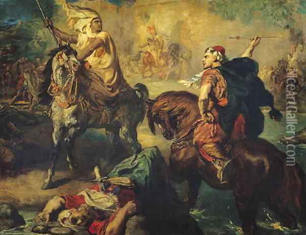 Arab Tribal Chiefs in Single Combat, under the Ramparts of a Town, 1852 Oil Painting - Theodore Chasseriau